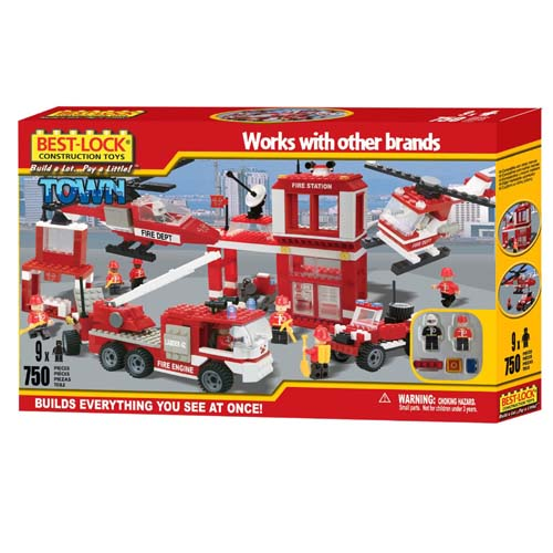 Best Lock Fire Station 750 Piece Building Set