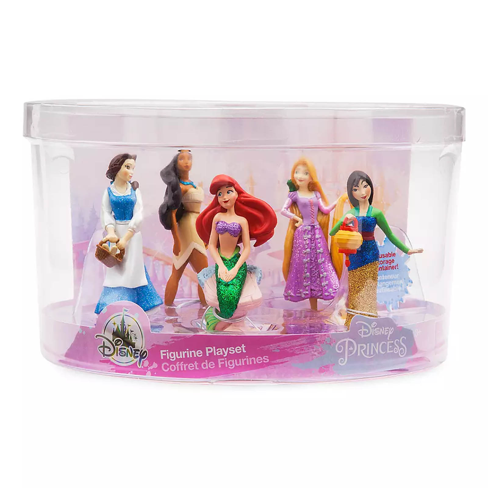 Disney Princess 5 Piece Glitter Figure Play Set Cake Toppers Ari