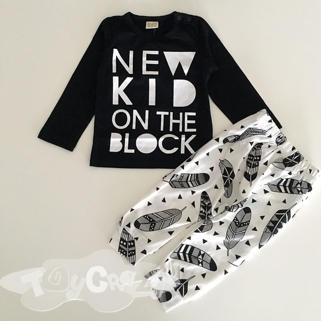 Baby Boy Girl Black White New Kid on The Block Top & Pant 80cm